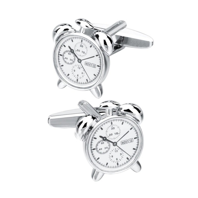 Alarm clock shaped cufflinks - stainless steel