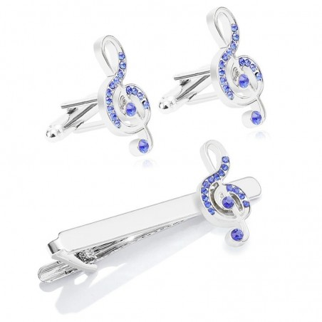 Cufflinks / tie clip - musical notes with blue crystal