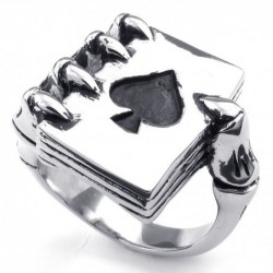 Vintage ring - stainless steel - skull claw holding deck of cards