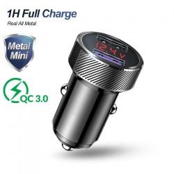 QC 3.0 - dual USB - phone car charger - LED digital display - quick charging