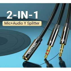 Headphone splitter - audio AUX cable - 3.5mm jack - female to 2 male