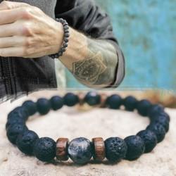 Mens natural moonstone bead bracelet - lava stone - gift