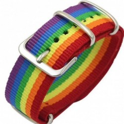 Regenboog armband - met gesp - nylon - unisex