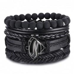 Vintage black bead bracelets for men - hollow triangle - leather - multilayer wide wrap