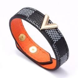 Leather bracelet - unisex - gold metal button - gift