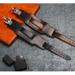 Genuine leather wide bracelet - adjustable buckle