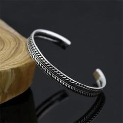 Edelstalen armband - met bladpatroon - open design - unisex