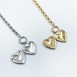 Necklace with a heart-shaped pendant - openable - gold / silver