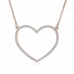 Heart-shaped pendant with necklace - with crystals - rose gold