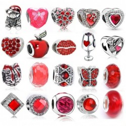 Red beads pendants - charms - for necklaces / bracelets - 2 pieces