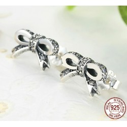 Crystal bow knot - jewellery set - necklace / earrings / ring - 925 sterling silver