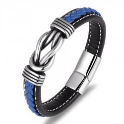 Vintage leather men's bracelet - stainless steel - with strap lock