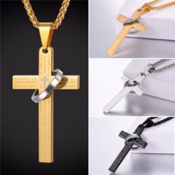 Heilig kruis met bijbels gebed - halsketting - met decoratieve ring - roestvrij staal