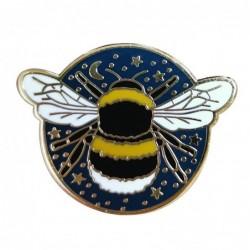 Bumblebee with star / moon - crystal brooch - pin