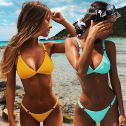 Sexy bikini set - low waist - with decorative metal rings