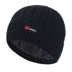Thick knitted hat - with plush inside - unisex
