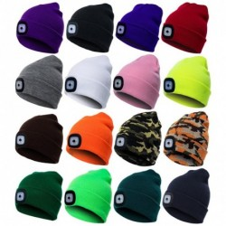 Warm knitted beanie - with LED light - unisex
