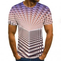 3D geometrische print - klassiek T-shirt met korte mouwen