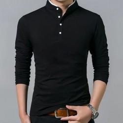 Long sleeve shirt / t-shirt - with buttoned collar - cotton
