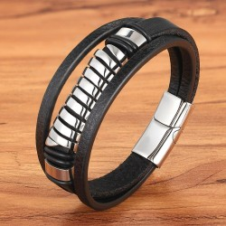 Multilayer leather bracelet - cross design - with clasp - stainless steel