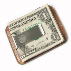 Slim leather wallet - with metal clip - money holder
