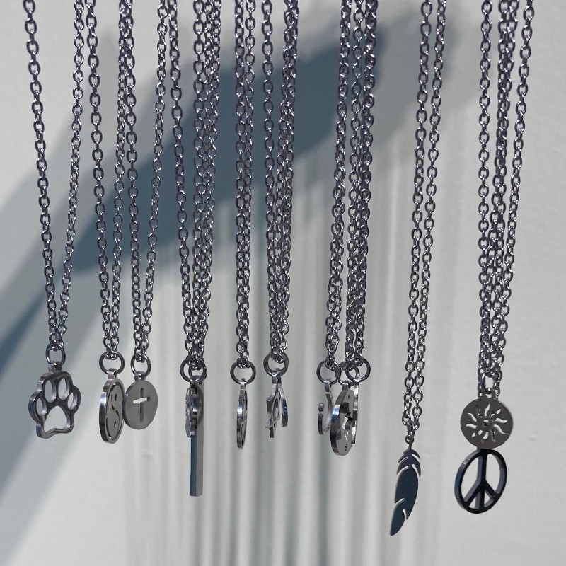 Stainless steel necklaces - long chain - sun / compass/ paw / yin yang