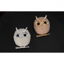 Crystal brooch with pearl owl