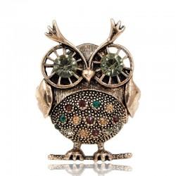 Retro big eyes owl - brooch with crystal decorations