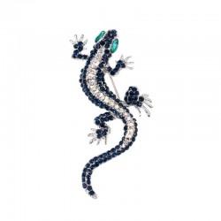 Navy crystal lizard - brooch