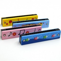 Wooden harmonica - double-row - 16 holes - cartoon design