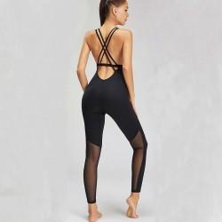 Sport mesh bodysuit - met spaghettibandjes - voor gym / yoga / fitness