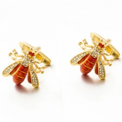 Bee shaped - metal cufflinks - with crystal decorations