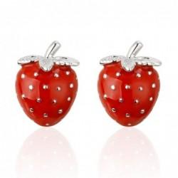 Rode aardbeien - metalen manchetknopen