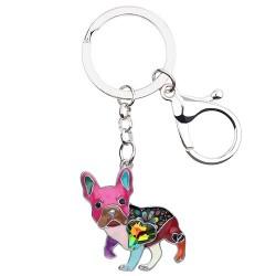 Enamel french bulldog - metal keychain
