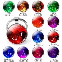 12 zodiac signs - glass round keychain