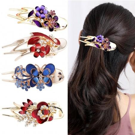 Luxurious crystal hair clip - butterflies / flowers