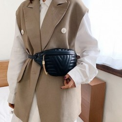 Fashionable small leather bag - with adjustable strap - waist / shoulder