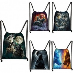 Trendy canvas backpack - with drawstrings - unisex - wolf print