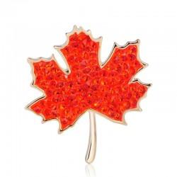 Red maple leaf - crystal brooch