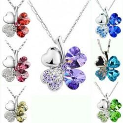 Four-leaf clover pendant - metal necklace