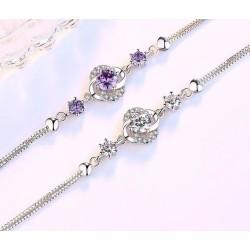 Crystal four-leaf clover bracelet - 925 sterling silver