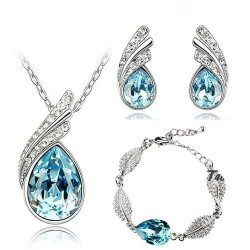 Austrian feather / waterdrop - necklace / earring / bracelet set - with crystal decorations