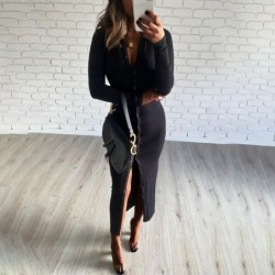 Fashionable button up dress - ankle length - long sleeve - v-neck