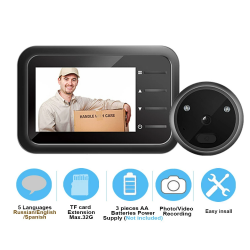 Doorbell peephole camera - auto-record - night vision - home security