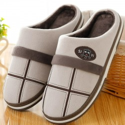 Striped home slippers - anti skid - suede / short plush