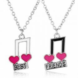 Best Friends - music notes / heart shaped pendant - necklace - 2 pieces