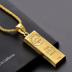 18K Gold bar pendant with necklace - 75cm