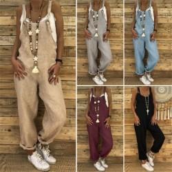 Vintage linen jumpsuit - lace up straps - loose - wide leg