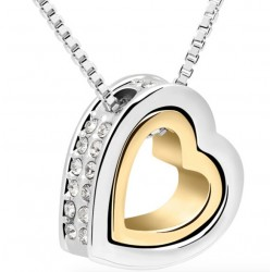 18K Gold & Silver Plated Heart Crystal Necklace