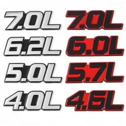 3D metalen autosticker - embleem motormaat - 4.0L - 7.0L